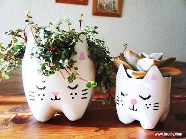 Como hacer macetas de gato con botellas de plastico