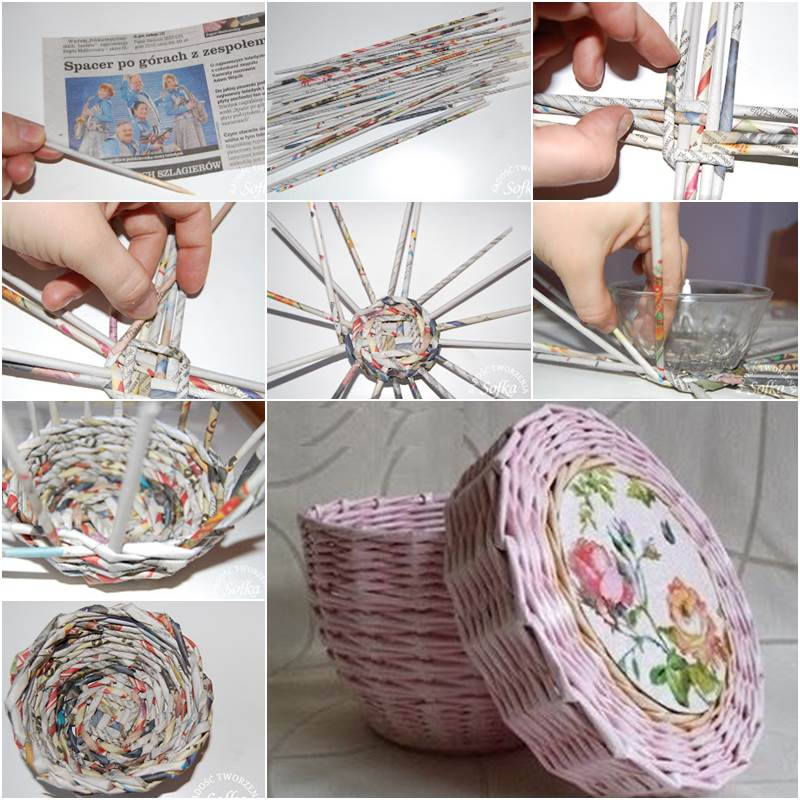 Creative-Ideas-DIY-Cute-Woven-Paper-Basket-Using-Newspaper