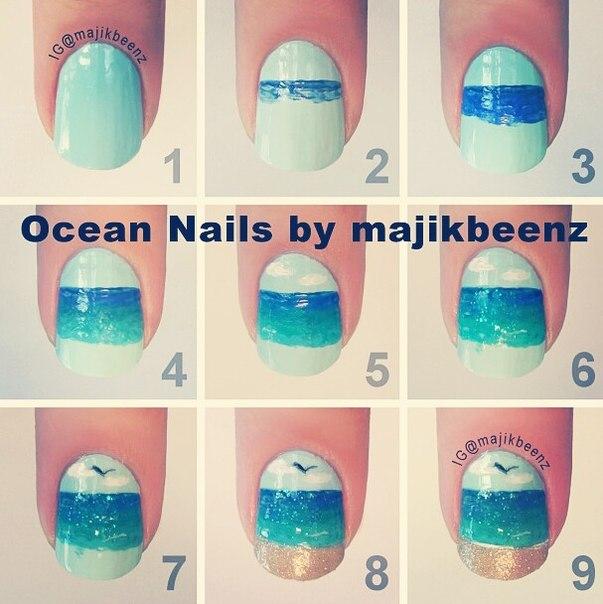 Como decorar uñas en forma de playa