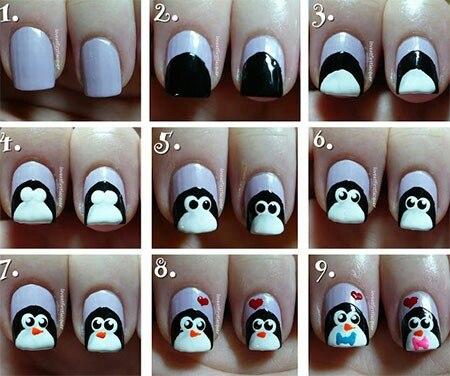 Como pintar uñas en forma de pingüinos