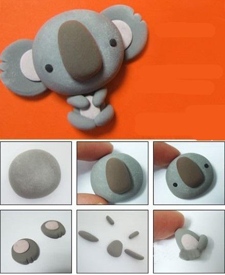 como hacer un koala con arcilla polimerica