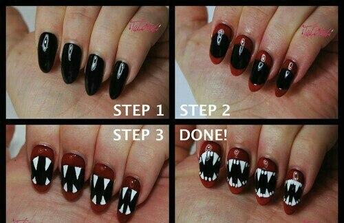 Como decorar uñas en forma de dentadura