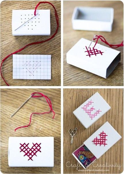caja de cerillos para regalo con bordado