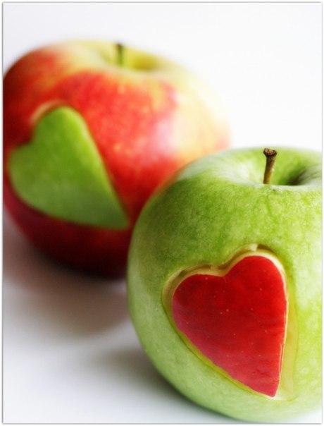 manzanas con corazones