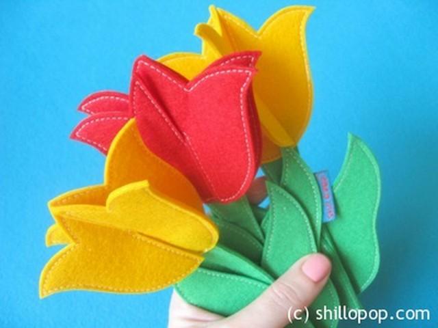 Ramos de tulipanes de fieltro (2)
