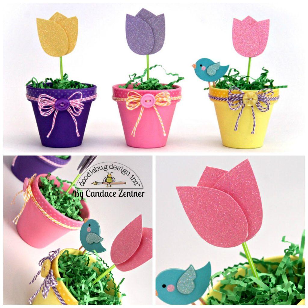 Ramos de tulipanes de fieltro (4)