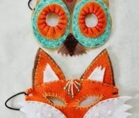 mascaras de animales de fieltro patrones