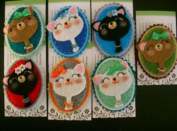 Broches de fieltro gatos 2