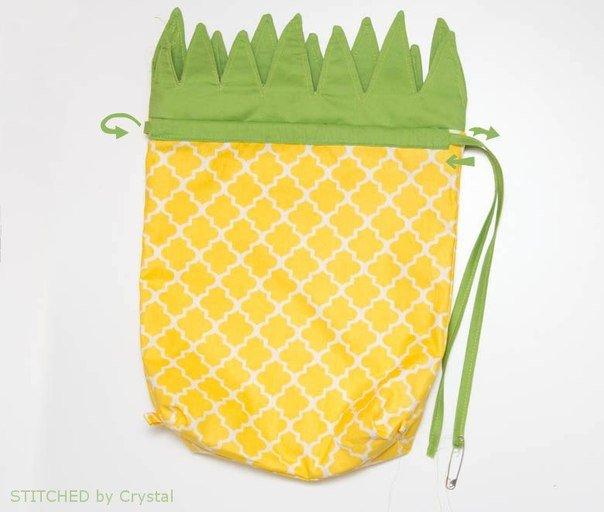 hacer una bolsa con forma de piña08