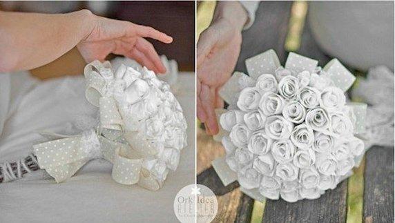 Como hacer un ramo de novia con flores de papel (7)