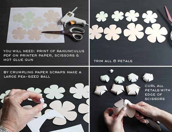 Patron para hacer rosas de papel paso a paso (3)