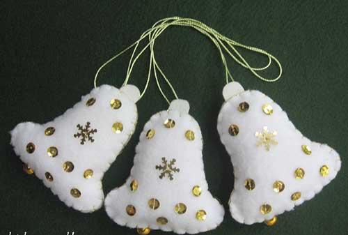 modelos de campanas navideas hechas en fieltro con molde para imprimir