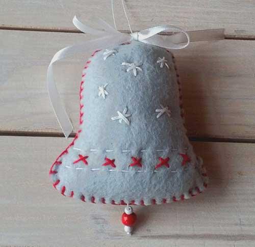 modelos de campanas navideas hechas en fieltro con molde para imprimir - Campanas Navideas