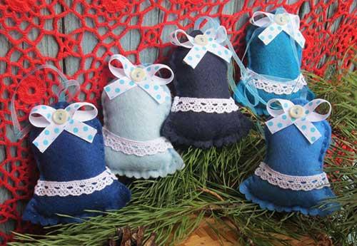 10 modelos de campanas navideas hechas en fieltro con molde para imprimir06 - Campanas Navideas