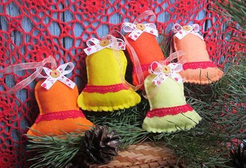 10 Modelos de Campanas navideñas Hechas en fieltro Con molde para imprimir07