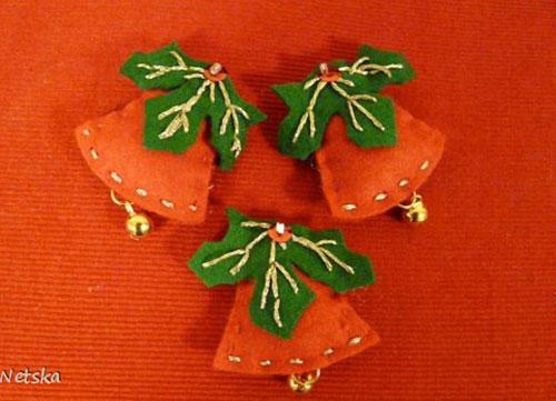 10 Modelos de Campanas navideñas Hechas en fieltro Con molde para imprimir10