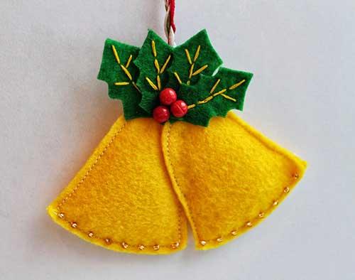 10 modelos de campanas navideas hechas en fieltro con molde para imprimir13 - Campanas Navideas