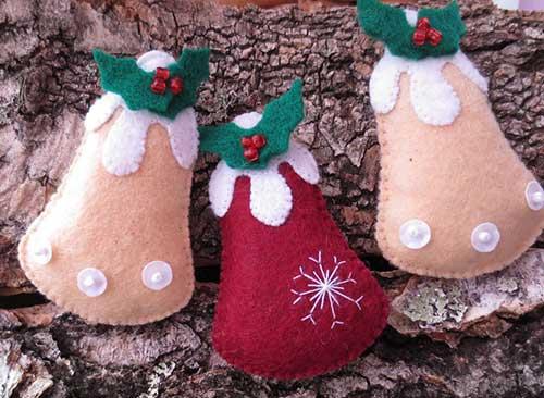 10 Modelos de Campanas navideñas Hechas en fieltro Con molde para imprimir15