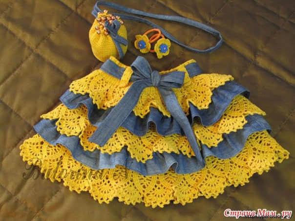 Falda combinada tejida a crochet con tela para niñas1