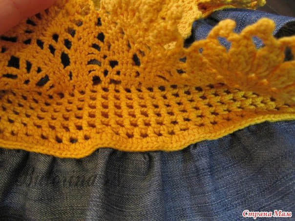 Falda combinada tejida a crochet con tela para niñas3