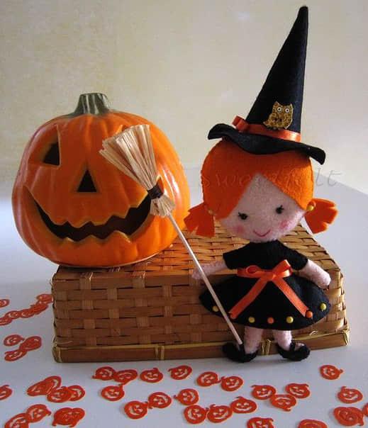 Moldes para hacer brujitas de fieltro para halloween08