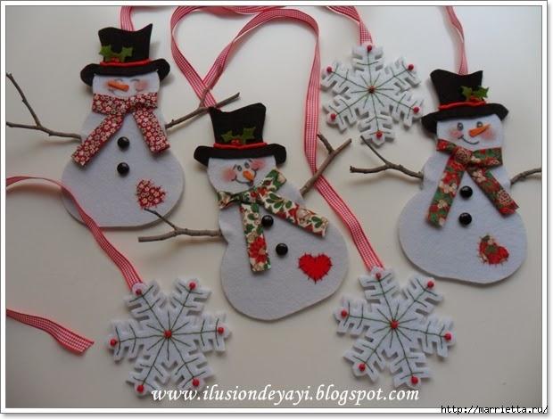 Moldes para hacer muñecos de nieve en fieltro02