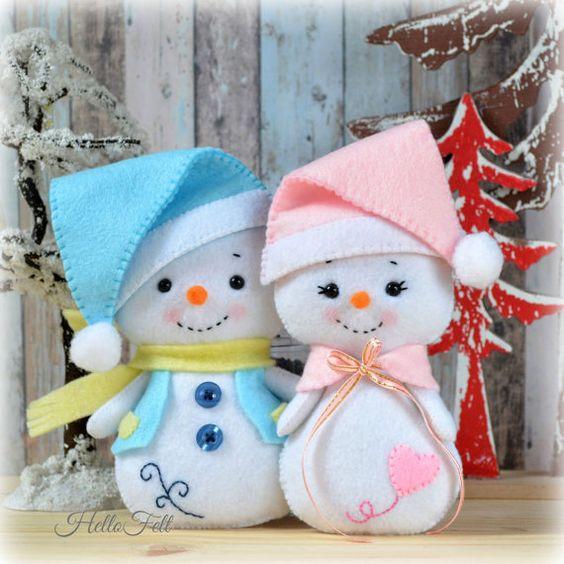 Moldes para hacer muñecos de nieve en fieltro06
