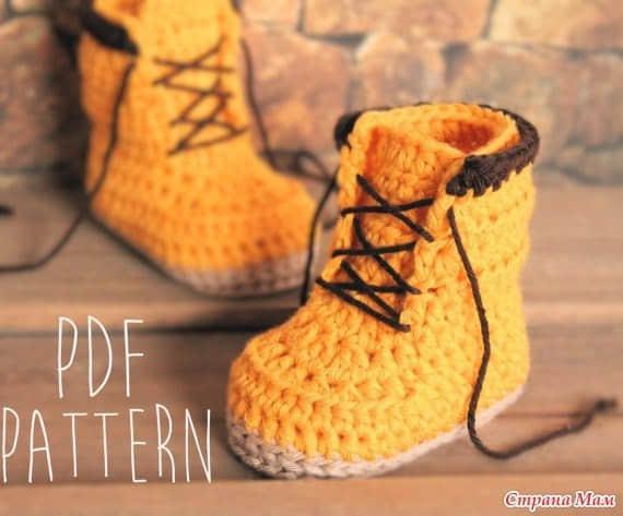 Patron botines tejidos a crochet para bebe02