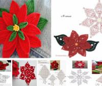 modelos para hacer una flor de noche buena a crochet