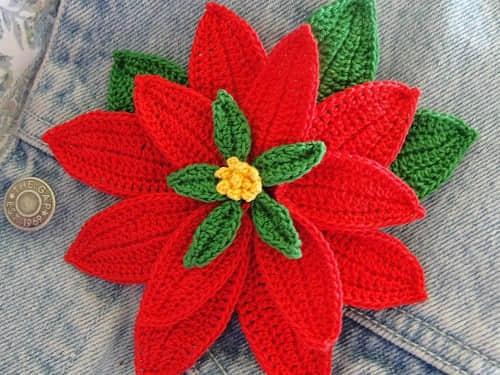 Patron para hacer una flor de noche buena a crochet14