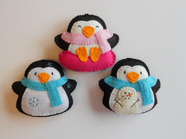 Patrones de pinguinos navideños con fieltro07