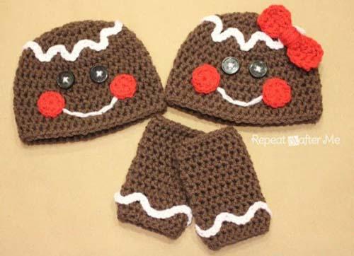 Gorros navideños tejidos a crochet par niños09
