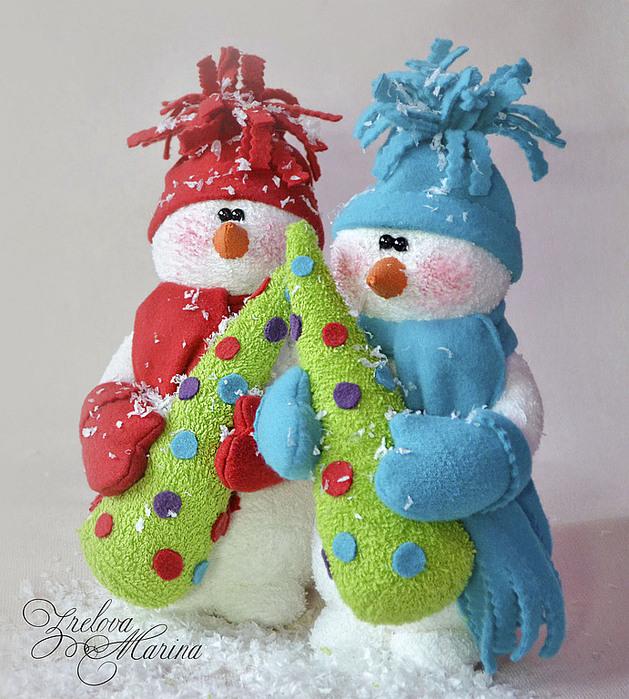 Muñecos de Nieve Grandes con Molde y Patrones gratis01