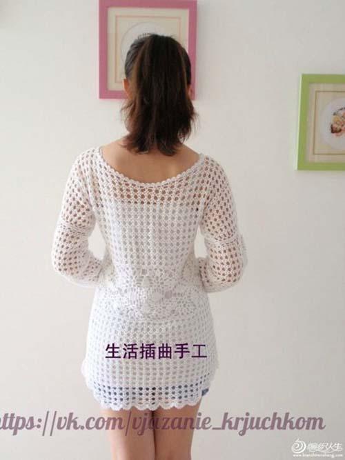 Patron blusa de manga larga tejida a crochet gratis01