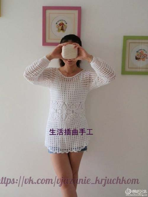 Patron blusa de manga larga tejida a crochet gratis04