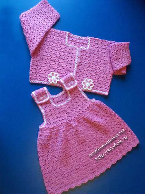 Vestido Tejido A Crochet Para Bebe De 0 A 18 Meses