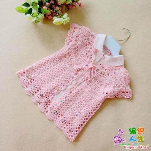 Patron gratis bolero tejido a crochet para niñas05