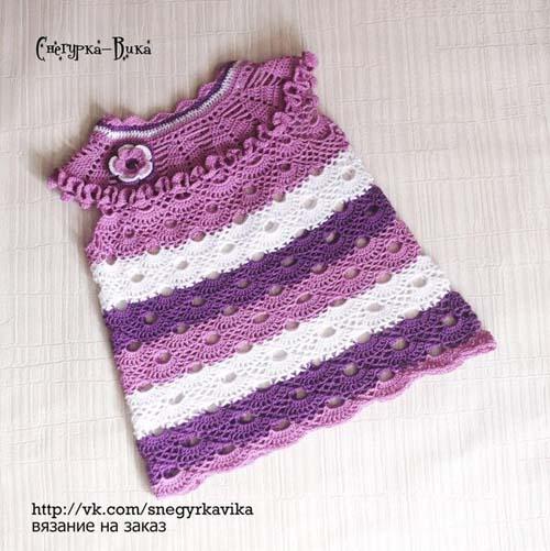 Patron gratis vestido a crochet para niñas de 1 a 3 años