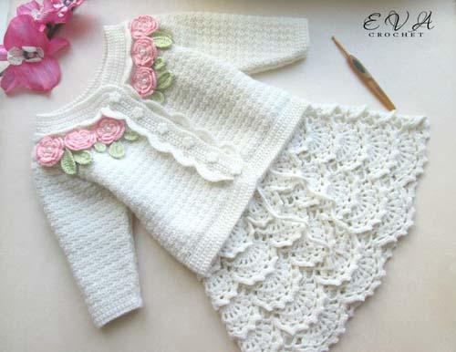 Patron para hacer un conjunto tejido a crochet para niña04