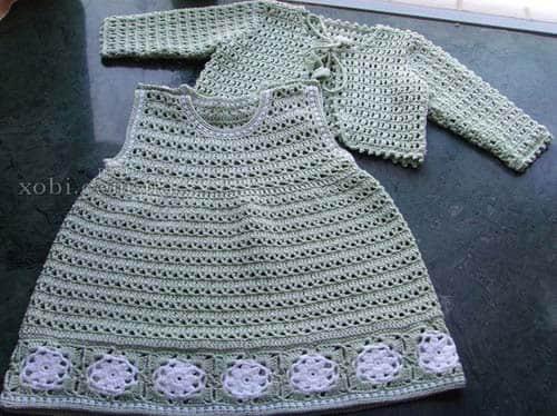 Patron para hacer un vestido y bolero a crochet para niña04