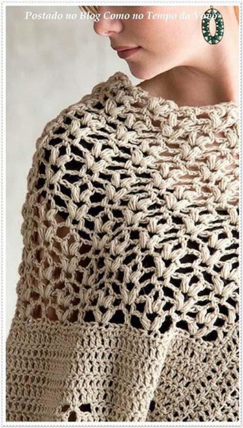 Patron poncho elegante a crochet para dama06