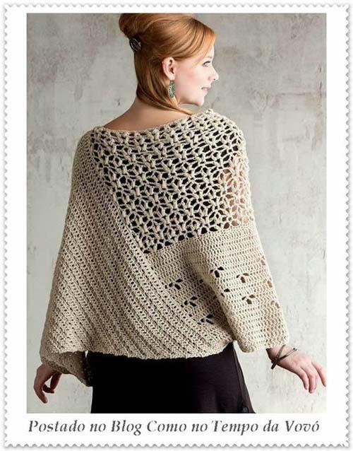 Patron poncho elegante a crochet para dama07