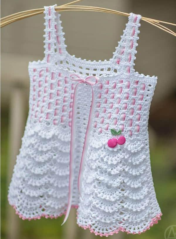 Dorable Vestido De Bebé Patrón De Crochet Libre Composición - Manta ...