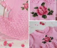 vestido en crochet con flor en punto de cruz
