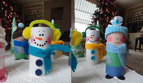 christmas-crafts-for-kids-reuse-toilet-paper-rolls-diy-snowman-decorating-ideas
