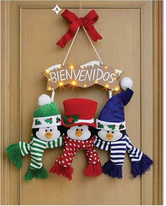 Adornos para puerta de navidad con moldes gratis - Decoracion de navidad manualidades ...