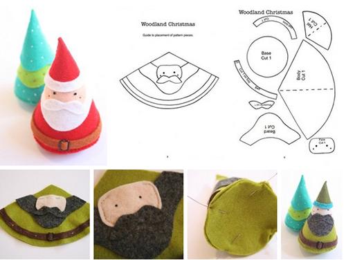 Como hacer conos navideños de fieltro07