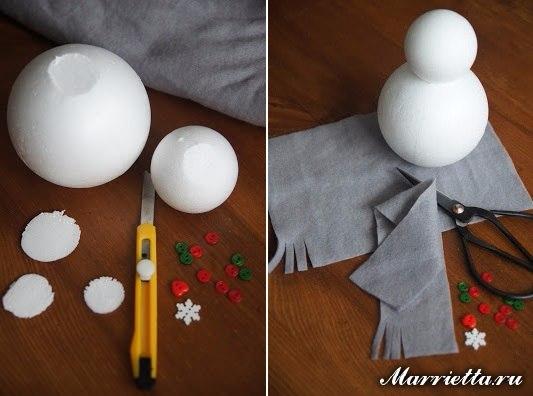 Como hacer muñecos de nieve con esferas unicel05
