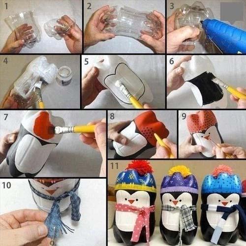 Como hacer punguinos navideños con botellas de plastico02
