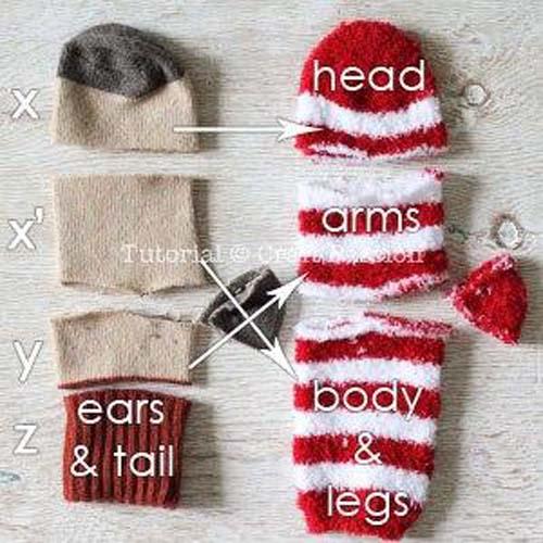 Como hacer un reno con calcetines paso a paso02